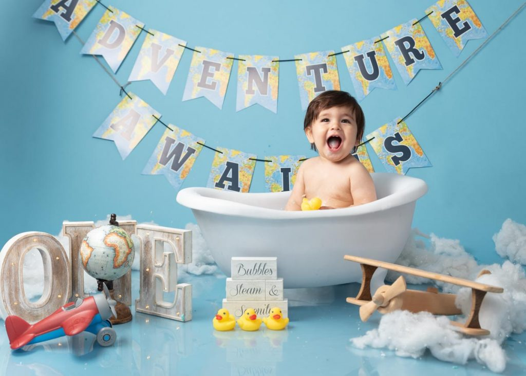 adventure awaits first birthday bath