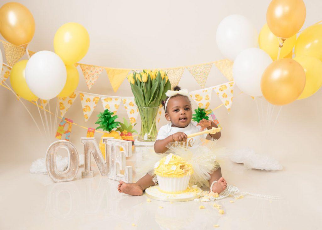 yellow themed first birthday photoshoot
