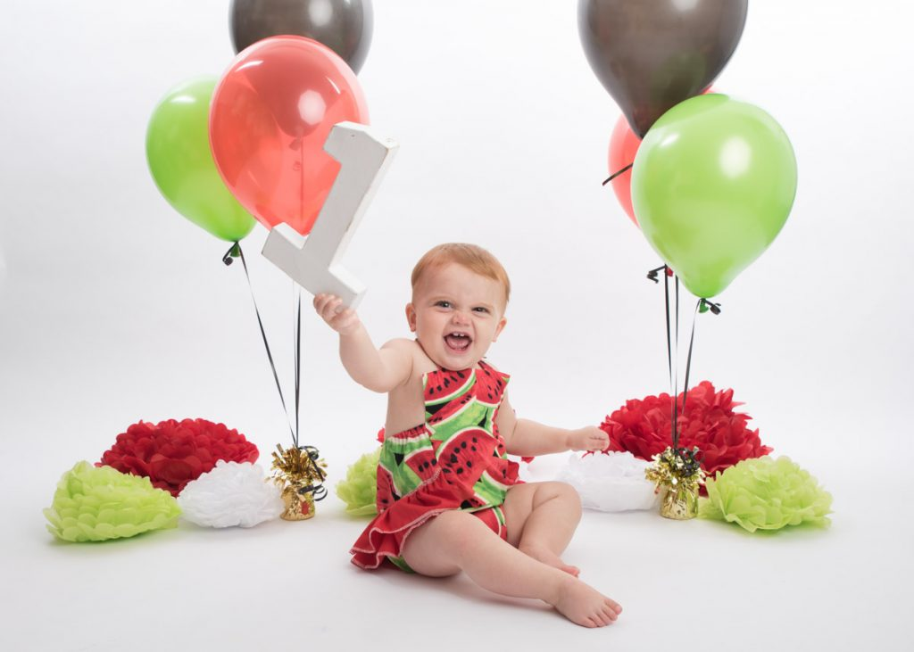 first birthday watermelon cake and themed photoshoot