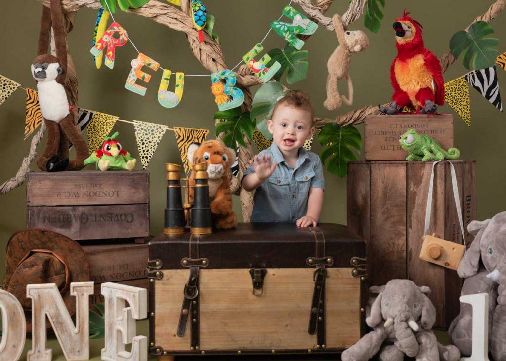 vintage safari first birthday for boy and girl photoshoot