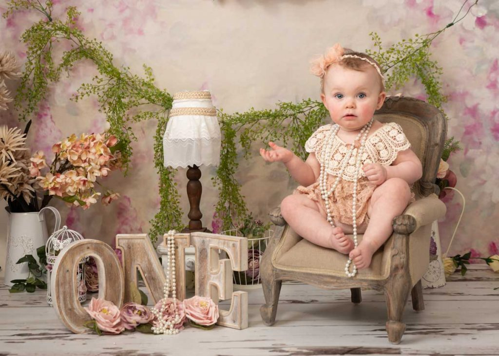 vintage style bear dress and necklace, my first birthday photoshoot