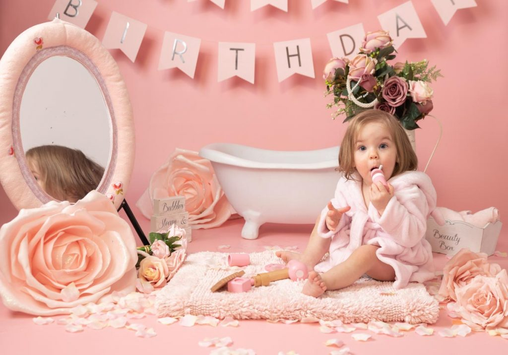 makeup and pamper session first birthday photoshoot