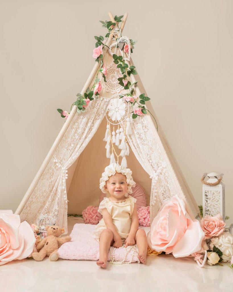 luxury style first birthday baby photoshoot