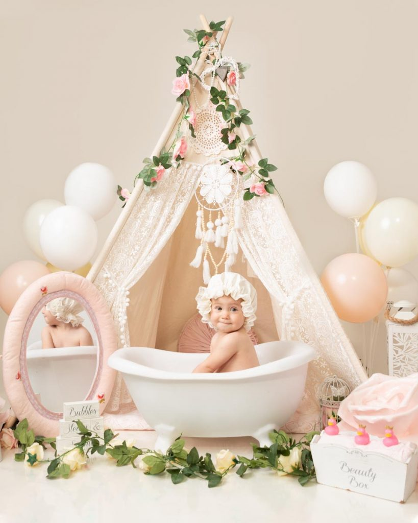 luxury bath style first birthday baby photoshoot