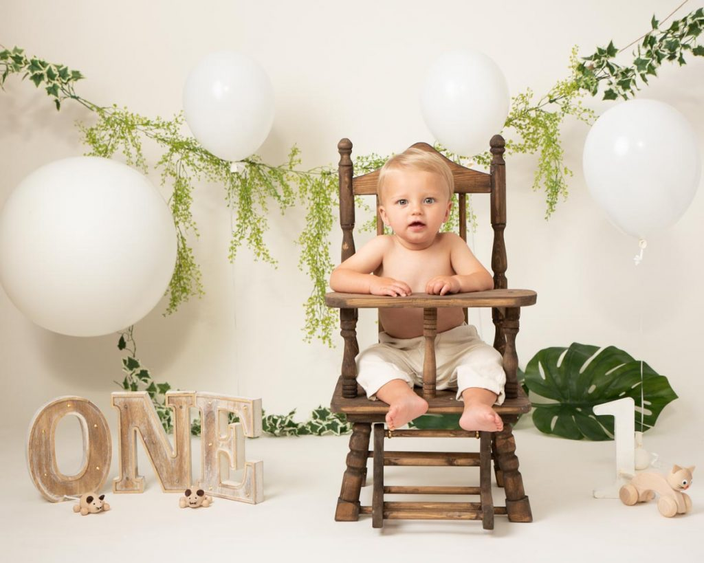back to nature first birthday photoshoot