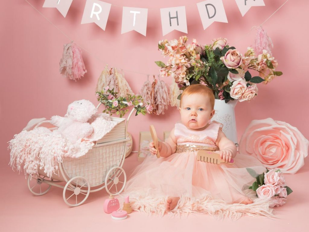 little princess in peach and pink
