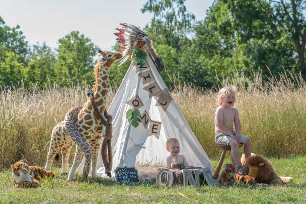 outdoor tent teepee first birthday safari photoshoot