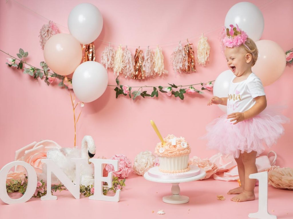Rose pink themed first birthday photoshoot