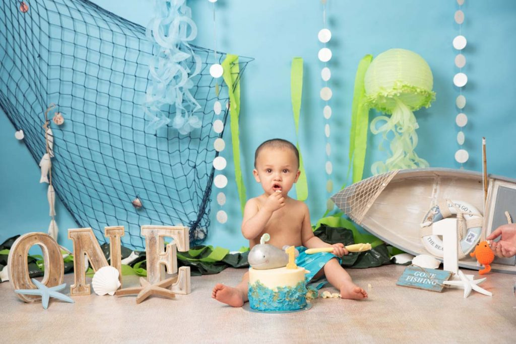 Seaside themed first birthday cake smash photography
