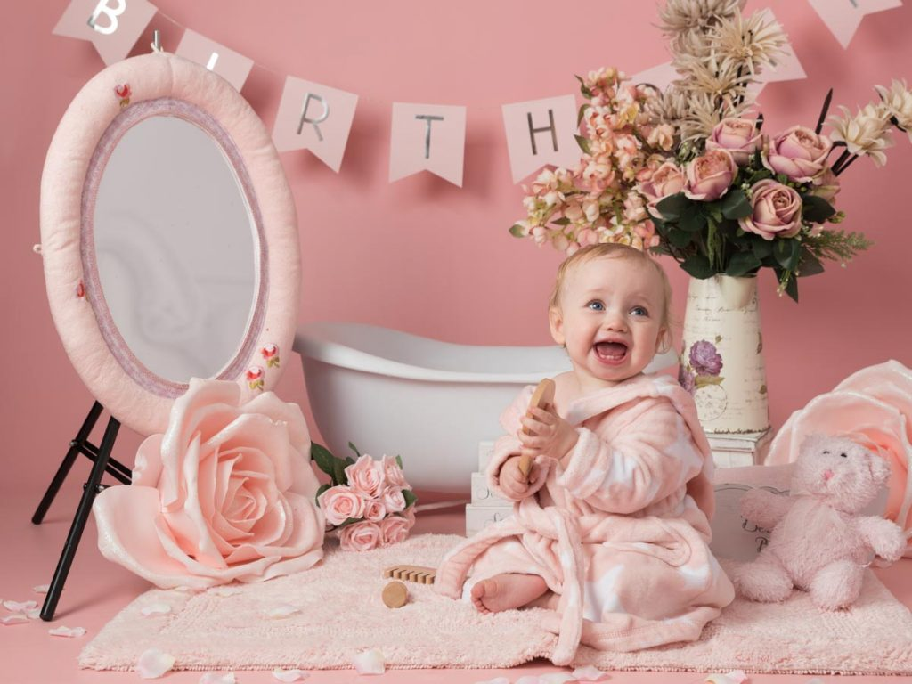 pink themed toddler and bigger baby photoshoot