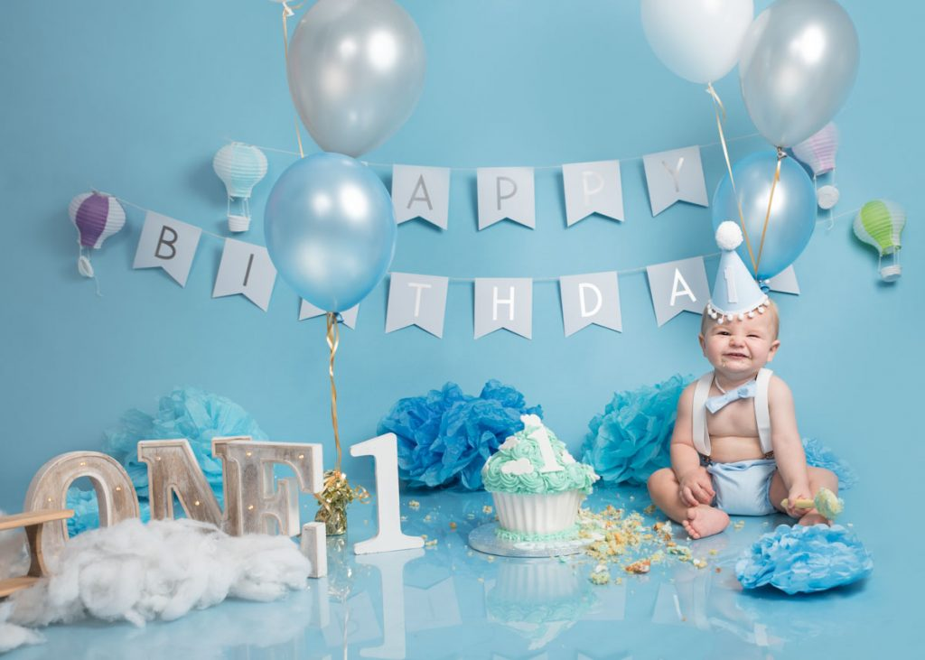 blue themed toddler and bigger baby photoshoot