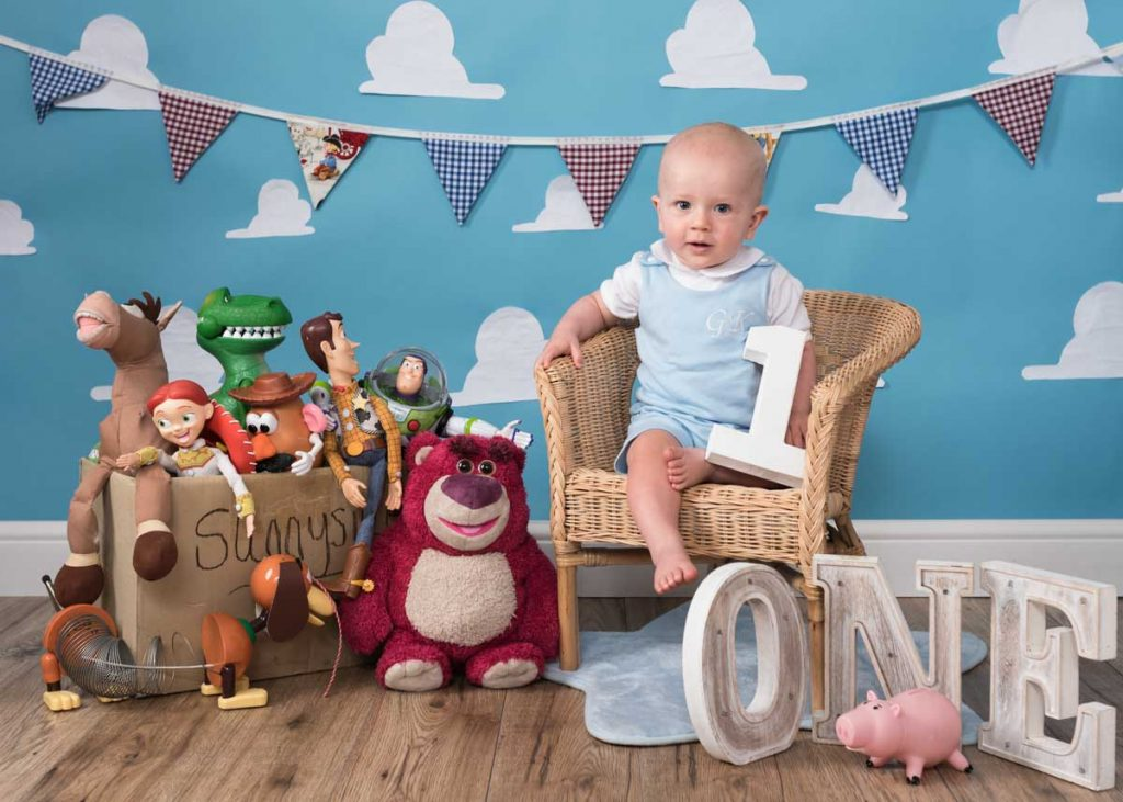 toy story character themed birthday photoshoot