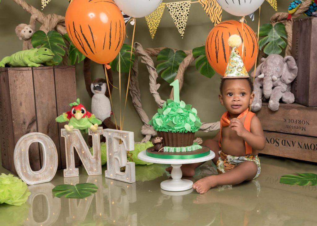 safari and zoo themed first birthday with Tarzan baby