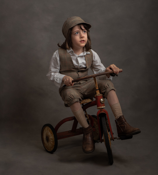 Victorian boy with trike fine art photography