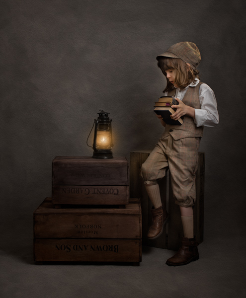Victorian boy with books fine art photography