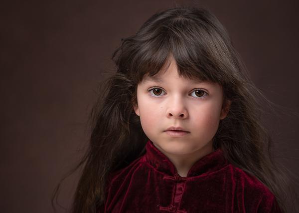 girl in crushed red velvet