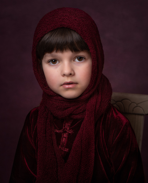 child in a hair scarf fine art photography