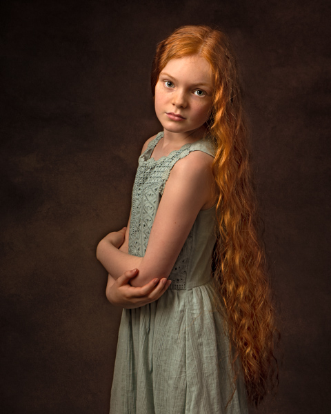 young girl with red hair fine art photography session