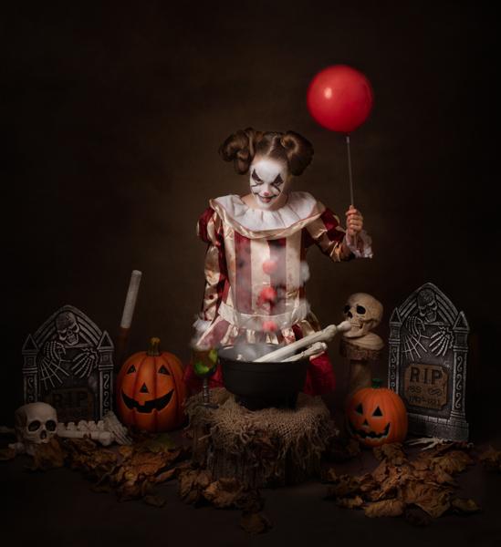 terrifying clown fine art photography session