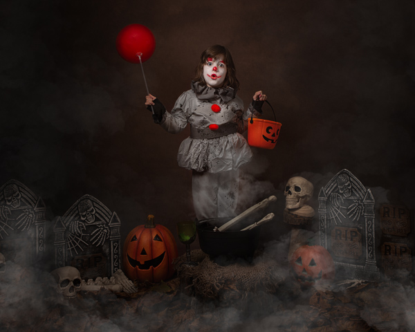 scary clown child fine art photography session