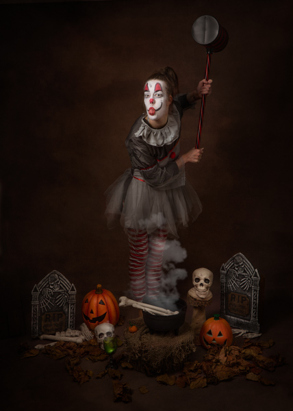 scary clown fine art photography session
