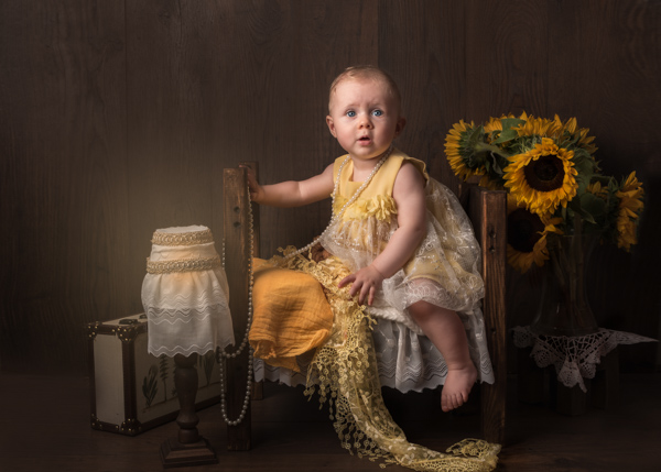 baby with sunflowers fine art photograph