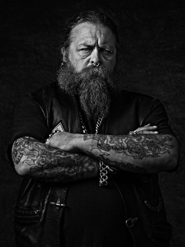 black and white harley biker fine art photoshoot