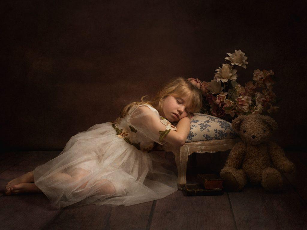 teddy, stool and young girl fine art photoshoot