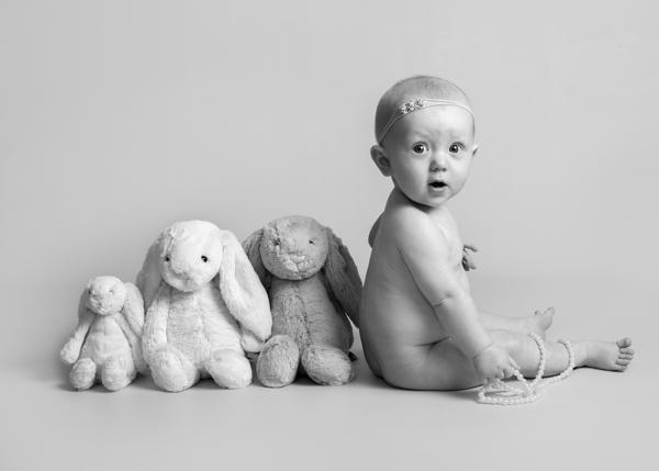 black and white baby photoshoot