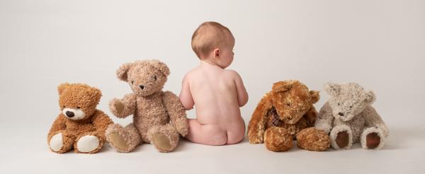 cute teddy bear and baby photoshoot