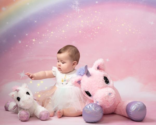 Baby photoshoot with unicorn