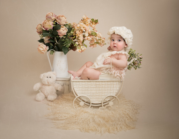 cream and rose baby photoshoot