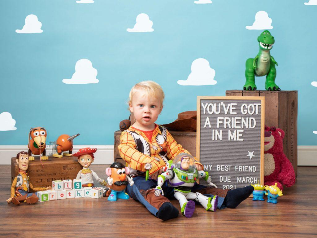 toy story cowboy Woody themed studio photoshoot