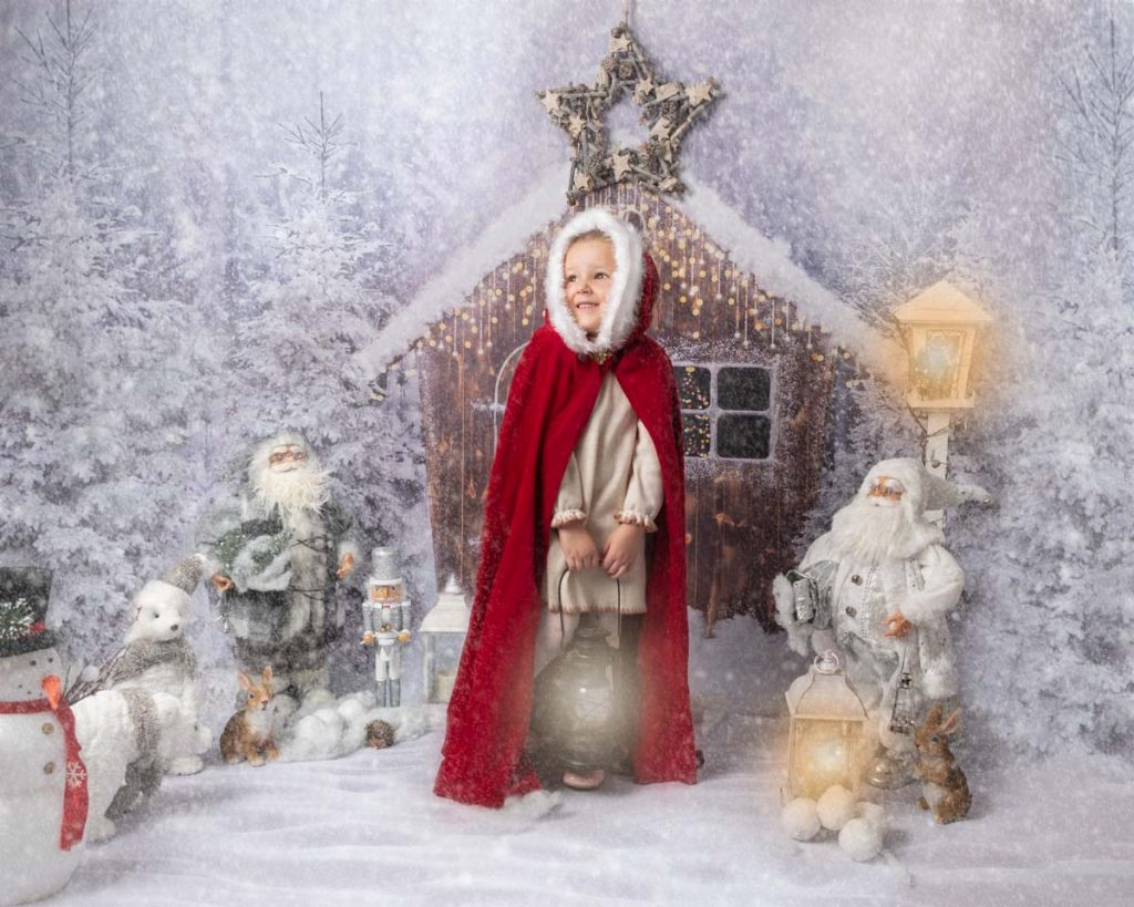 little red riding hood with Santa Christmas photoshoot