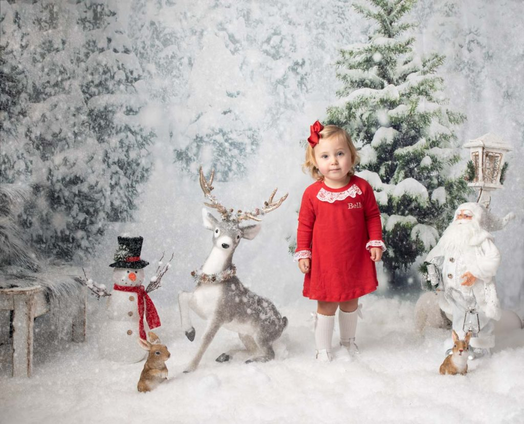Little girl outside with snow Christmas photoshoot