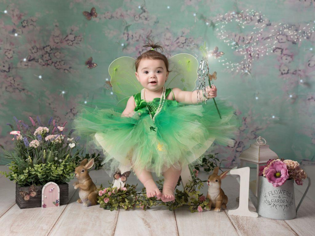 little green fairy cake smash photography