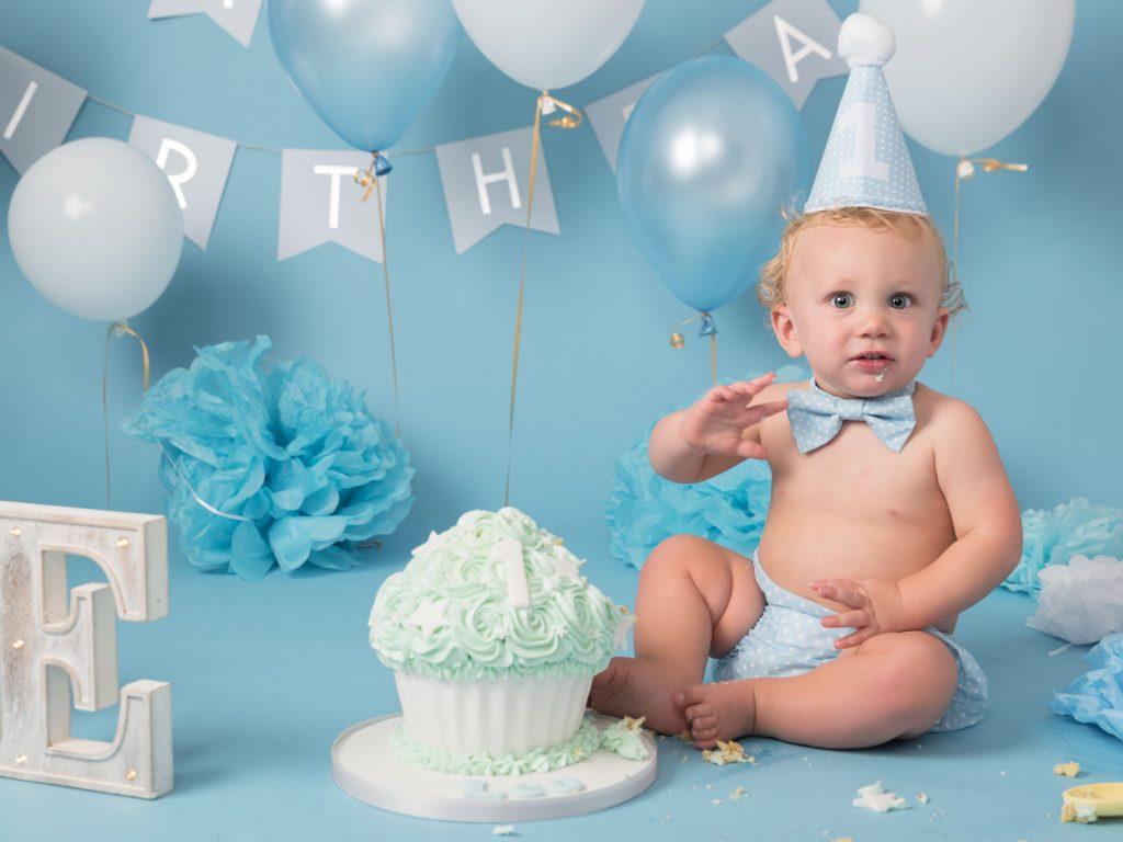 first birthday cake smash blue