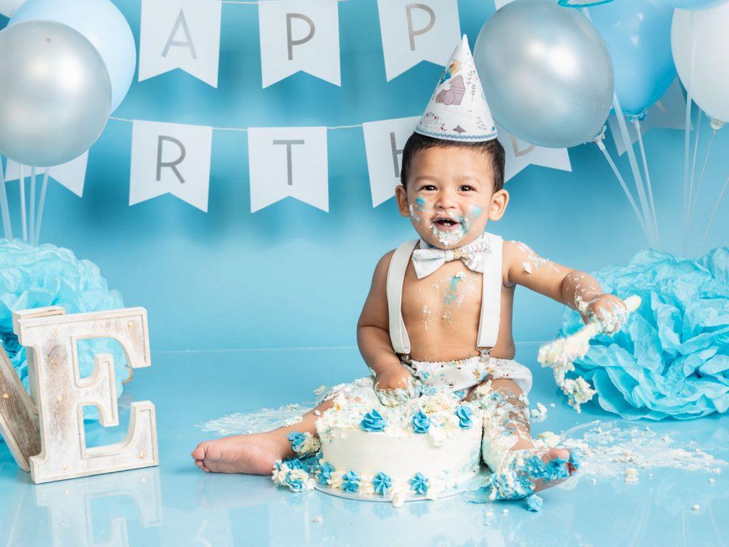 fun cake smash first birthday for boys