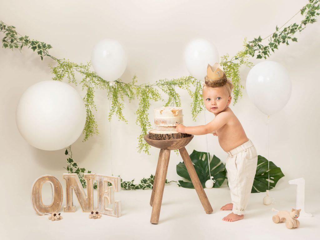 first birthday baby cake smash photo
