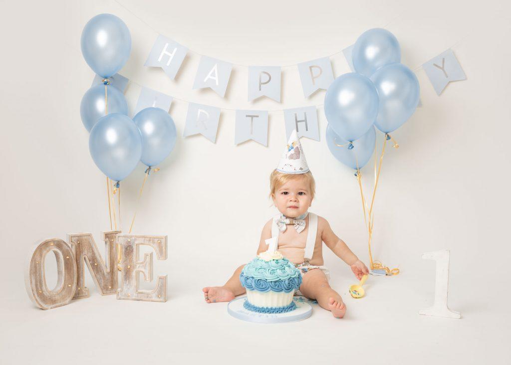 first birthday cake smash for baby boy