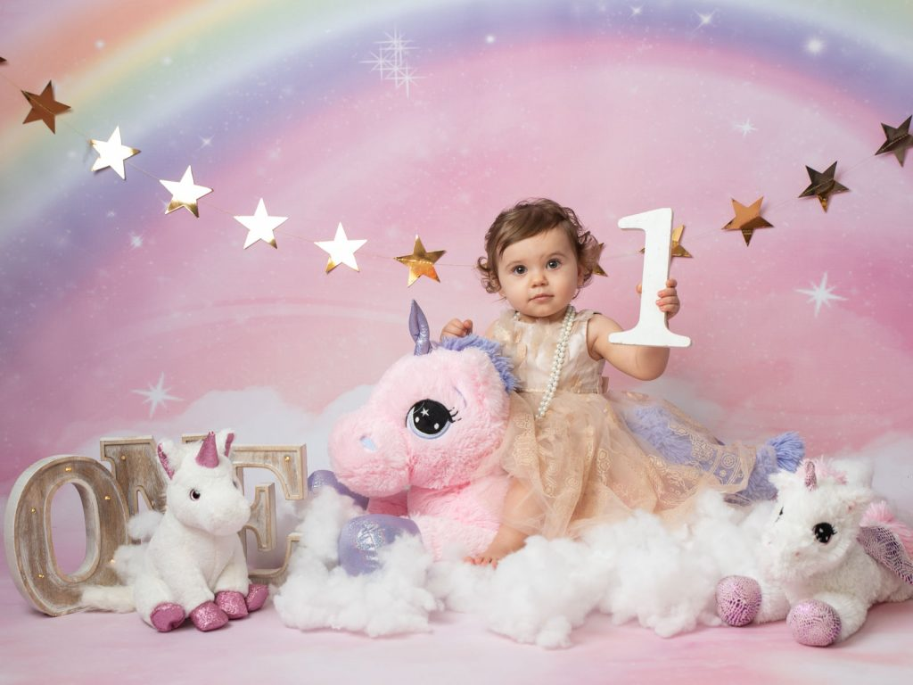 first birthday with a unicorn photography