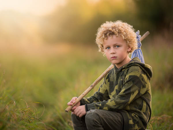 outdoor location photoshoot with young boy in autumn