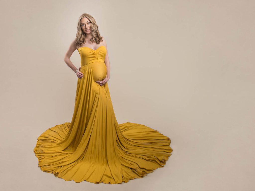 gorgeous mustard long draped maternity photoshoot