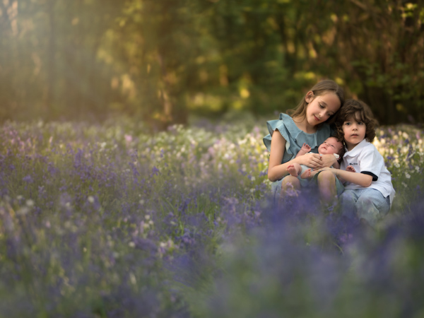 family of children in a field of lavender