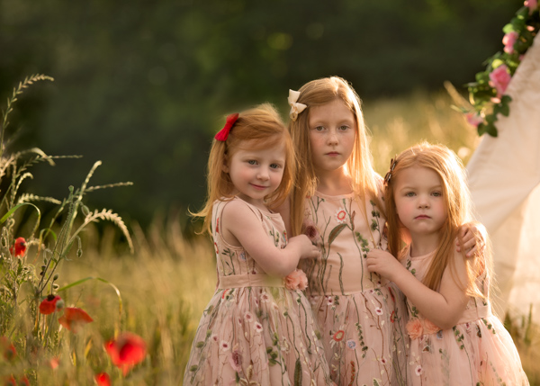 red hair family in a field
