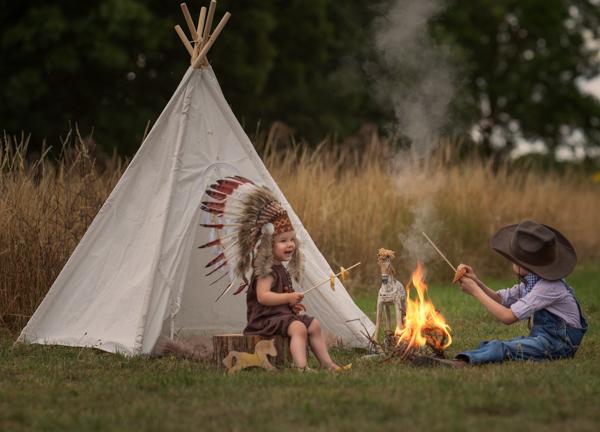 cowboy and native camping