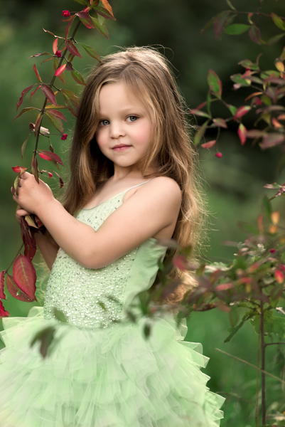 girl in green dress outdoor photography