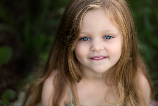 blue eyed girl in a location shoot