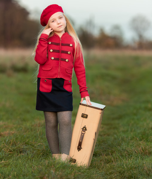 outdoor photoshoot child in red outfit