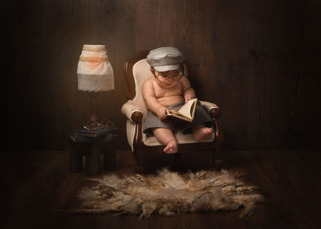 Stunning childrens photography cute baby in old man style chair